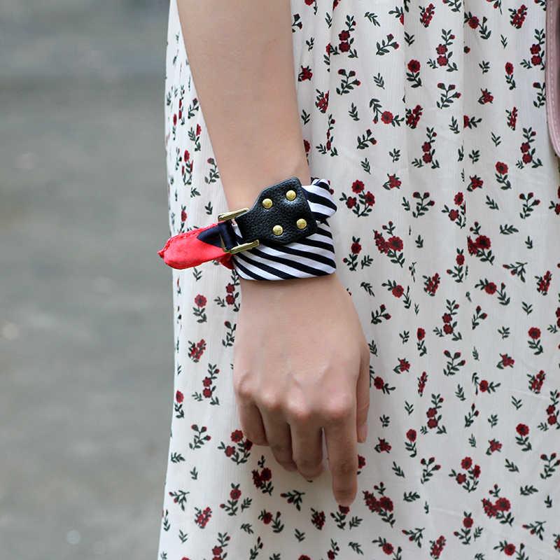 UBUAUTY jedwabne szale Charms bransoletka szalik z kwiatami skórzana klamra DIY na rękę osobowość moda bransoletki dla kobiet biżuteria