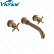 2017 Wholesale Promotion Unique Antique Brass Cross Handles In wall Bathroom Faucet Vintage Old Style Basin Mixer Taps wholesale and retail antique brass bathroom mixer taps two handles one hole faucet