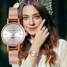 Quartz Luxury Retro Pattern Exquisite Watch Simple Classic Casual Women Gold Mesh Strap Ladies WristWatch Relogio Feminino