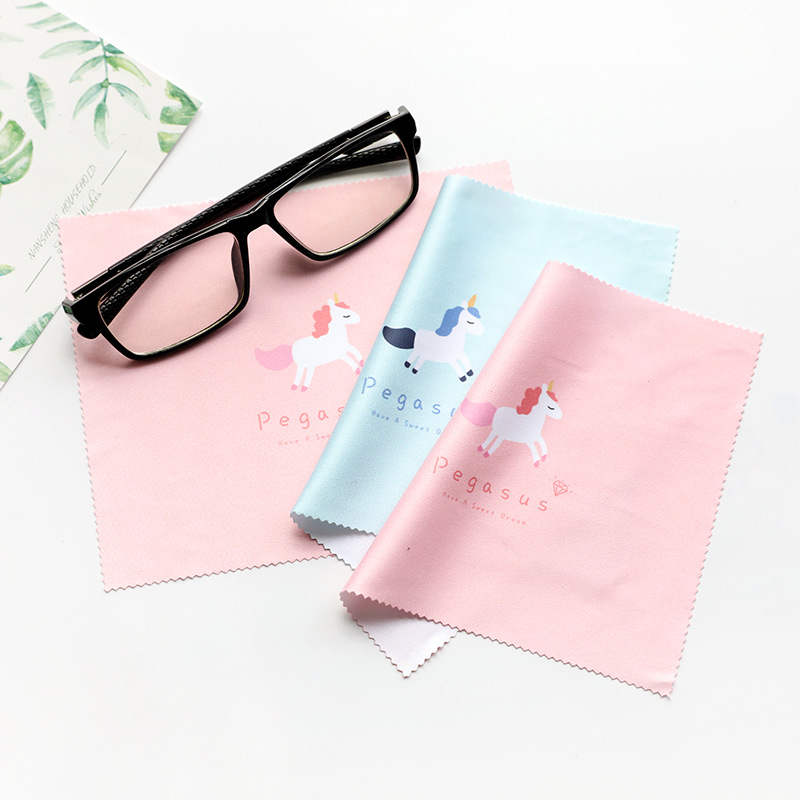 2pcs/lot Glasses Cloth Pink/Blue Unicorn  Microfiber Cleaning Optical Lens Camera Mobile Phone Screen Cleaning Cloth 170*140