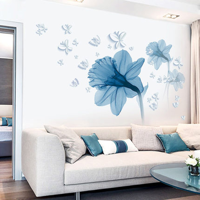 Home Decor Vendors: Aliexpress.com : Buy Blue Flowers Butterfly Wall Stickers Living Room Bedroom Home Decor Wall