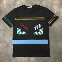 New VanMe 2017 Men Monster flocking stripes T Shirts kanye T-Shirt Hip Hop Skateboard Street Cotton T-Shirts Tee Top Top #12
