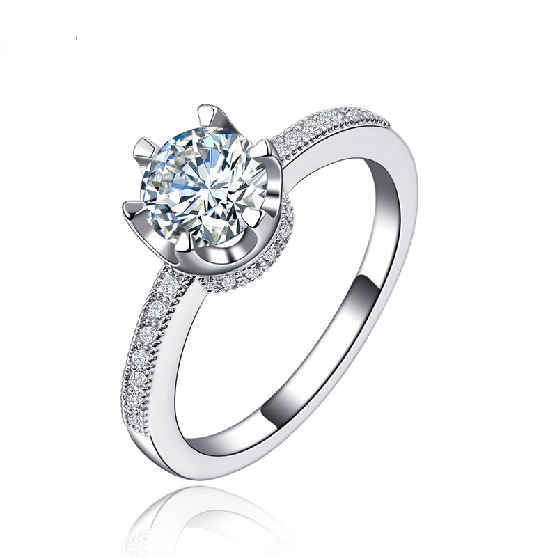 simple round rings for women girl silver jewelry wedding engagement ring austrian crystal wholesale gift shr118