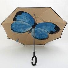 Quality Brand Bright Pattern Creative C Hook Handle Reverse Folding Double Layer Windproof Rainy Sunny Umbrella Car Men Women