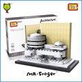 Mr. froger arquitectura loz museo guggenheim casa ciudad modelos forge world diy kits modelo de mini bloque bloques de construcción de juguete ladrillos