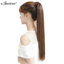 SNOILITE 26″ Synthetic Long Ponytail Clip In Pony Tail Hair Extensions Wrap on Hairpieces Straight Hairstyles Brown Black Blonde