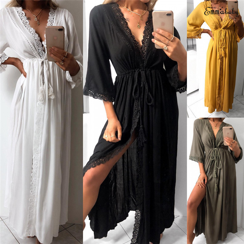 2019 Fashion Women Deep V Long Sleeve Kimono Dress Shawl Cardigan Loose Sleep Wear Lace SleepWear Silk Nighty Sleeping Dress