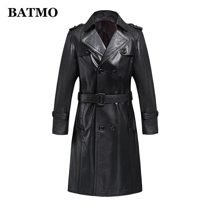 BATMO 2019 chegada nova 100% couro de vaca natural longos casacos dos homens, dos homens Double Breasted casaco de trincheira de couro, feito por encomenda N008