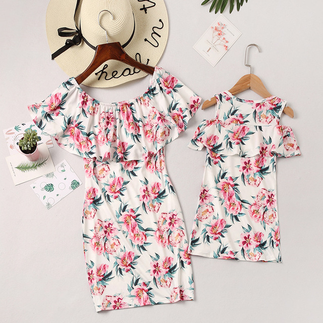 casual mother daughter dresses above knee family look mommy and me matching clothes outfits mom mum mama daughter dress clothing 3