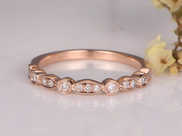 Myray 14k Rose Gold Wedding Band Conflict Free Diamond Pave Set Natural Gemstone Ring