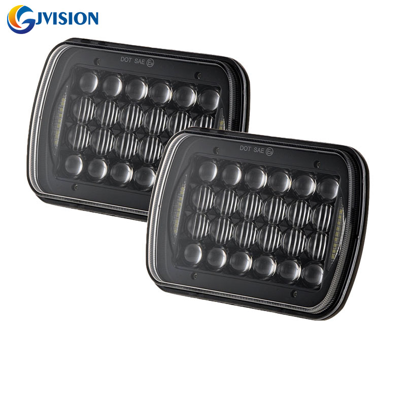 5x7 LED Rectangle Headlight 6x7 inch LED Headlight with DRL High Low Beam led headlamp for Jeep XJ YJ Trucks Ford Offroad Cars czg 5755 55w led high power 5x7 led headlight with hi low beam angel eye for jeep trucks offroad 7 led work head lamps e9 mark