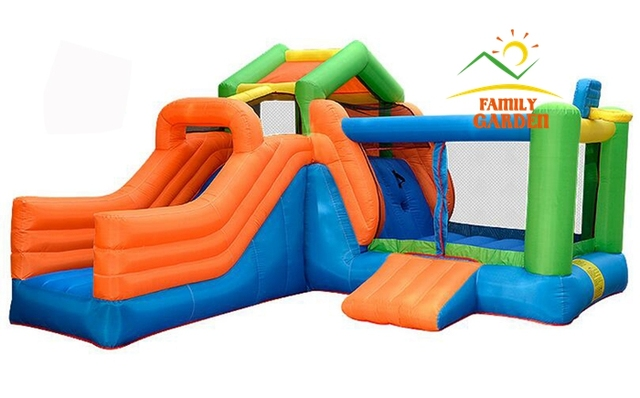 climbing playhouse slide castle inflatable bouncer with basketball