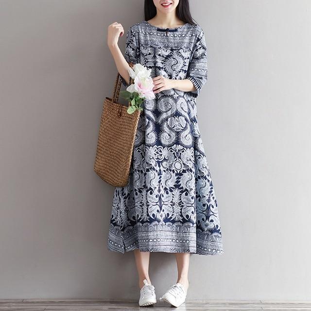 8941b72c69f84 Mferlier Femmes D été Robe Imprimé floral Moitié Manches Robes Vintage  Coton et Lin Femmes