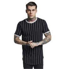 New tshirt Men Stripe printed T shirt Fashion stitching O-neck Short-sleeved Sli