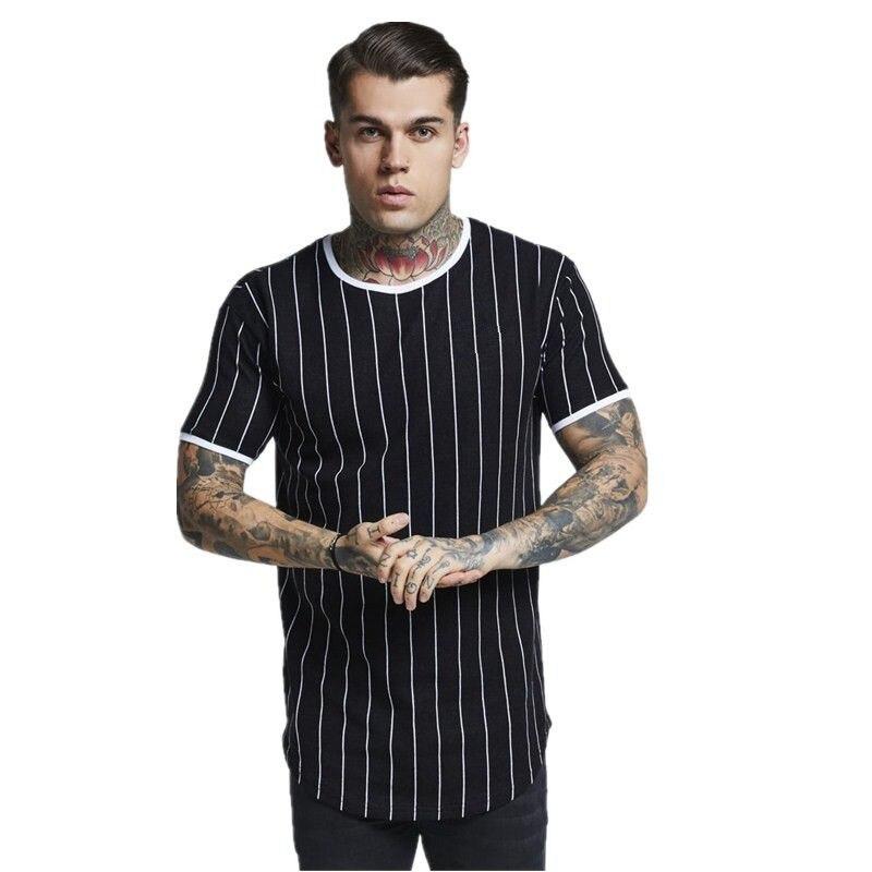 New Tshirt Men Stripe Printed T Shirt Fashion Stitching O-neck Short-sleeved Slim Fit Black Army Green T Shirt Men
