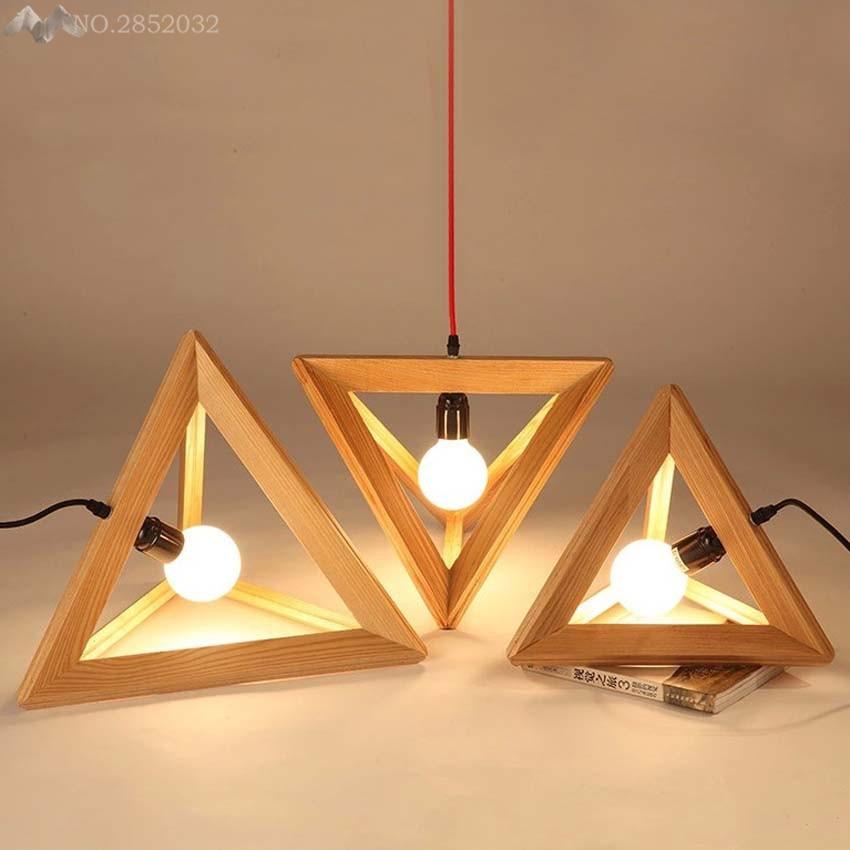 Creative Triangle Oak Pendant Lamp Nordic Wooden Led