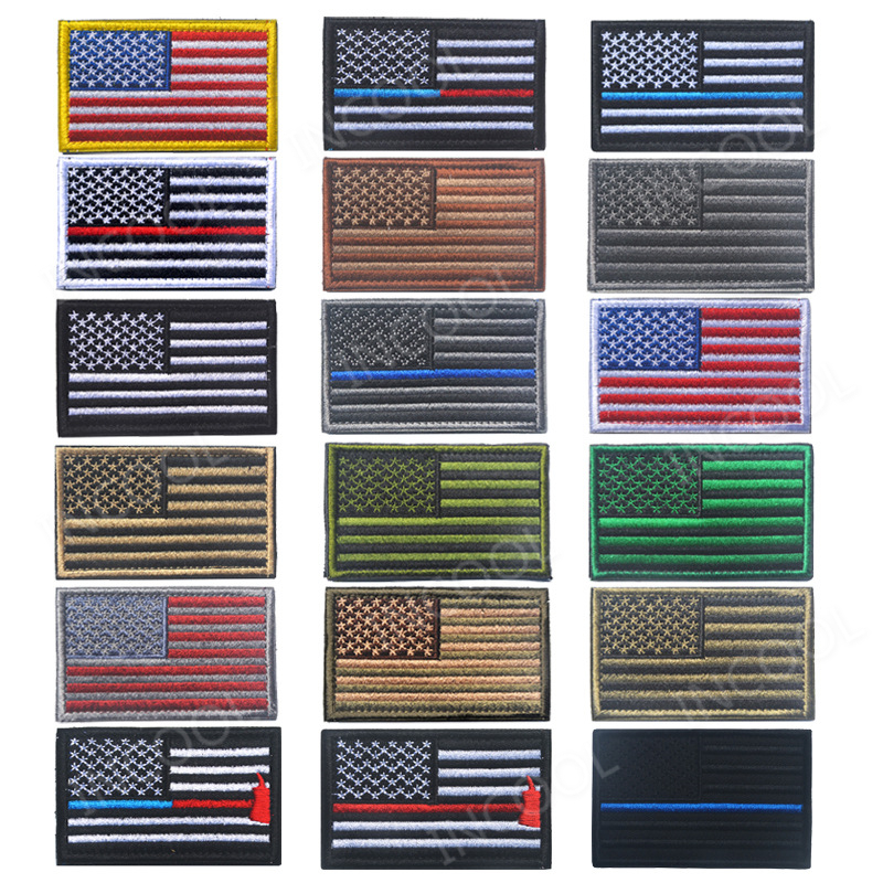 30 PC United States Flag Embroidery Patch USA Flags US Army Tactical Military Morale Patches Emblem