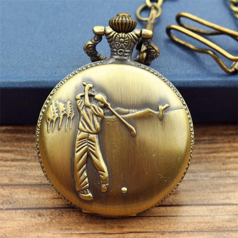 new fashion Antique steampunk Vintage pocket watch women and men golf Design Quartz Necklace Fob Chain Christmas Gift clock