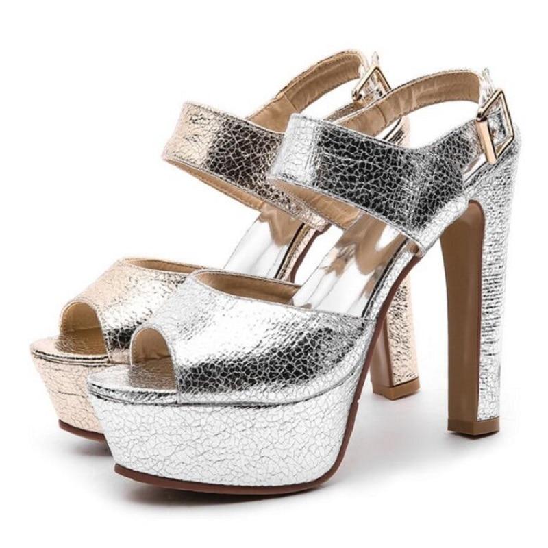 Zapatos Verano Super Sandalias De Gruesa Cm gold Impermeable Talón Mujeres Plataforma Hebilla Sexy Alto Las 14 Dorado Palabra Para Pez Sliver Boca waqtvBI4In