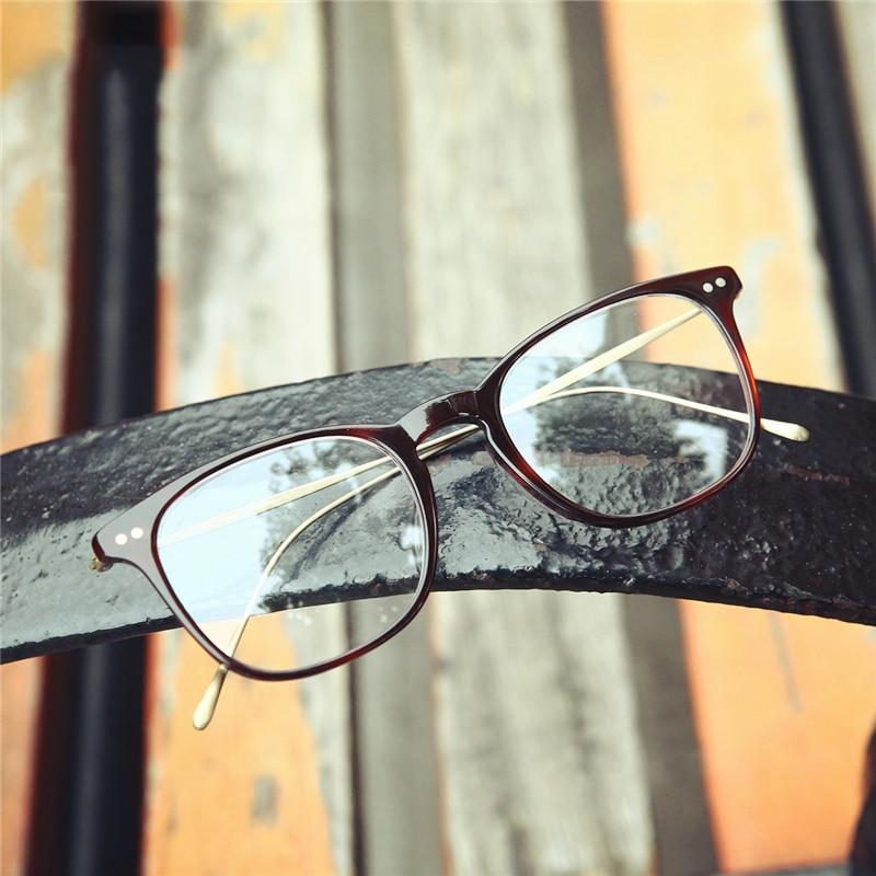 Brand Vintage Optical Glasses Frame Men Transparent Retro Square Eyeglasses Women Acetate Eyewear Spectacles Frames Man Gafas in Men 39 s Eyewear Frames from Apparel Accessories