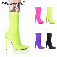 55307b346 Carson DEleventh INS EGO Quente Apontou Toe Stilettos de Salto Alto Sapatos  de Mulher Botas Cor