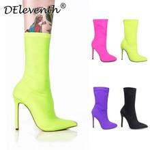 86f214c6c DEleventh INS/Лидер продаж эго Карсон острый носок туфли на высоком  каблуке, высокий каблук обувь женские ботинки Смешанные Цвет..
