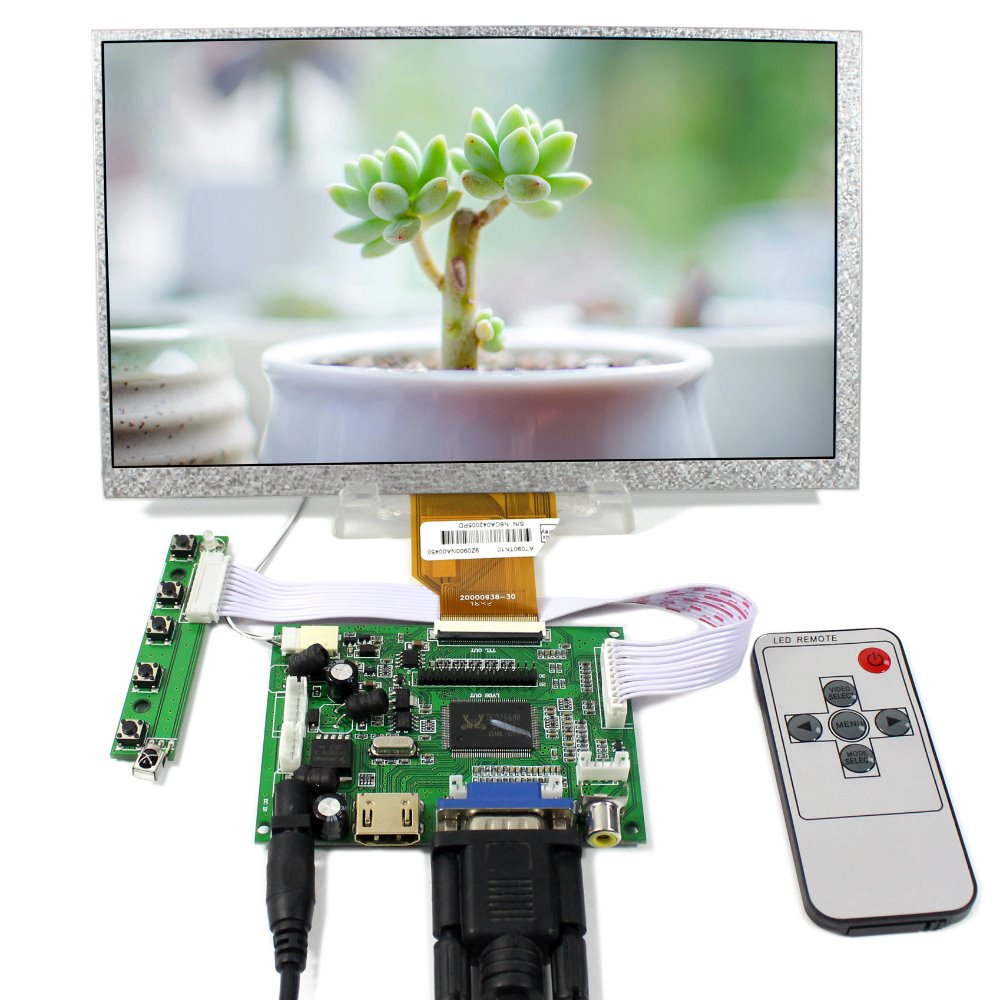 HDMI VGA 2AV LCD Controller Board+9inch AT090TN10 AT090TN12 800x480 LCD Screen hdmi vga 2av reversing lcd controller driver board with 6 2inch 800x480 hsd062idw1 lcd panel