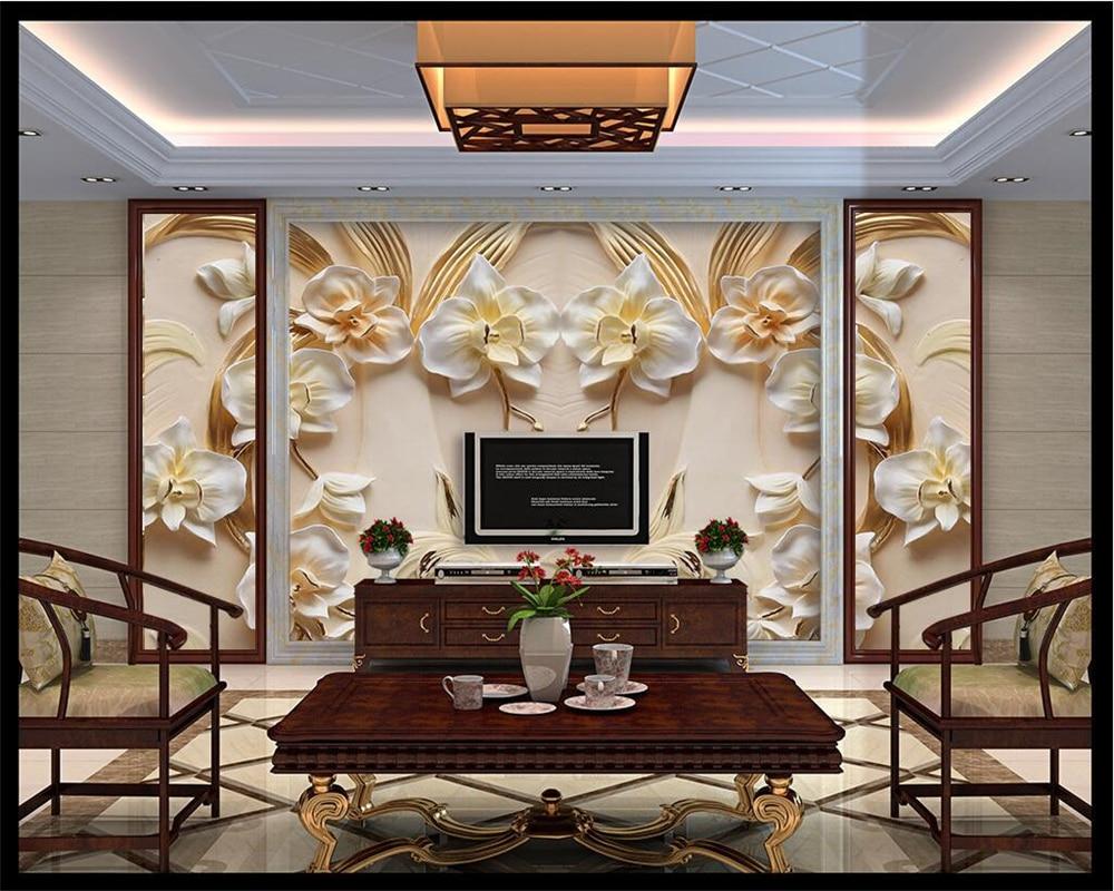 Купить с кэшбэком beibehang Custom Wallpaper 3D Butterfly Floral Backdrop 3D Sandstone Relief TV Background Wall Living Room Bedroom 3d wallpaper