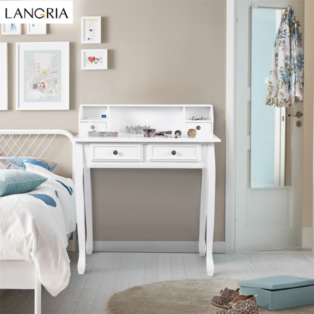 LANGRIA Makeup Dressing Table Vanity With 4 Drawers, 3 Open Storage  Compartments And Solid Rubberwood