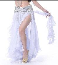 2019 kobiet spódnica do tańca brzucha szczelina długie długie spódnice odzież do tańca brzucha seksowna orientalna profesjonalna spódnica do tańca brzucha s 13 kolorów