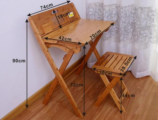 Attractive 90*74*72CM Folding Study Table Bamboo Writing Desk Modern Student Learning  Table With
