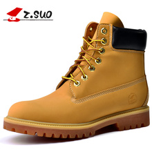 Z.Suo Hot Sale Fashion Men's Casual Working Safety Boots Man England Vintage Tooling High Top Shoes Yellow Black White ZS10061