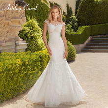 Ashley Carol Sexy Boat Neck Mermaid Wedding Dresses