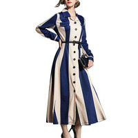 Western Fall Autumn Winter Dresses Women 2018 High Quality Blue Beige Striped Buttons Front Long Maxi