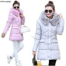 Новый 2017 женщин зимнее пальто куртки ватные средней длины плюс размер 2XL Куртка меховой воротник капюшоном утолщение женские зимние носить