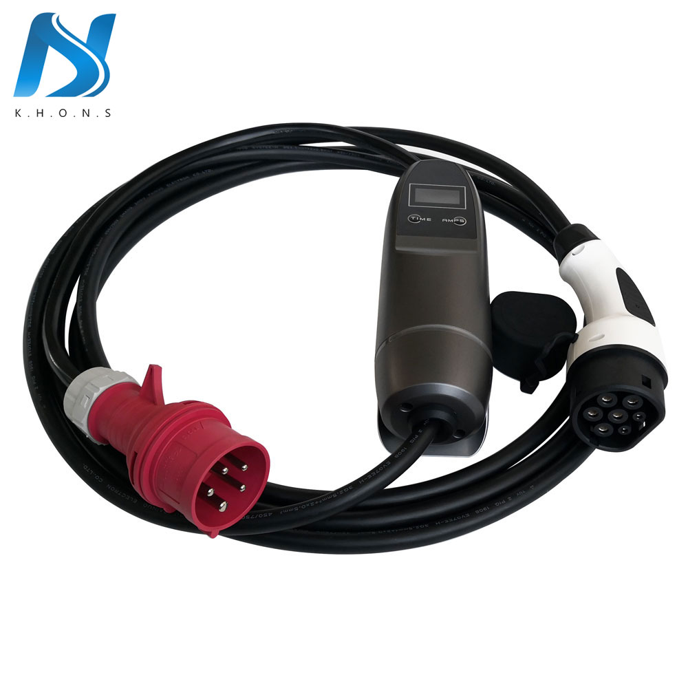 Khons 11KW 3 Phase EVSE Type 2 Electric Vehicle Car EV Charger With Red CEE Plug 16A Adjustable 16ft EV Cable Charging Connector