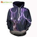 ACTIONCLUB 2017 Spring New Fashion mens hoodies and sweatshirts 3d print Cat lightning galaxy coat HipHop Coat Casual Sportswear