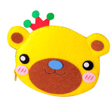 Bear Coin Purse Wallet Felt Applique Kit Handmade Felt Materials DIY Package for Home Decoration Gift(China)