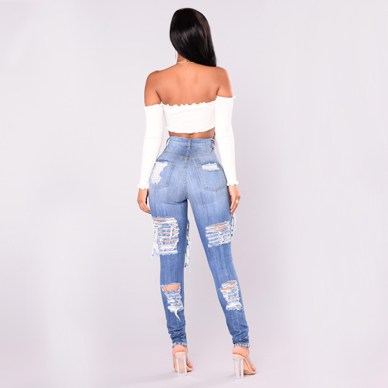 ae944fe2962 2018 New Ripped Jeans for Women Blue Hole Plus Size Mom Jeans American  Apparel Ladies Destroyed Skinny Jeans Femme KWA0490 5-in Jeans from Women's  Clothing ...