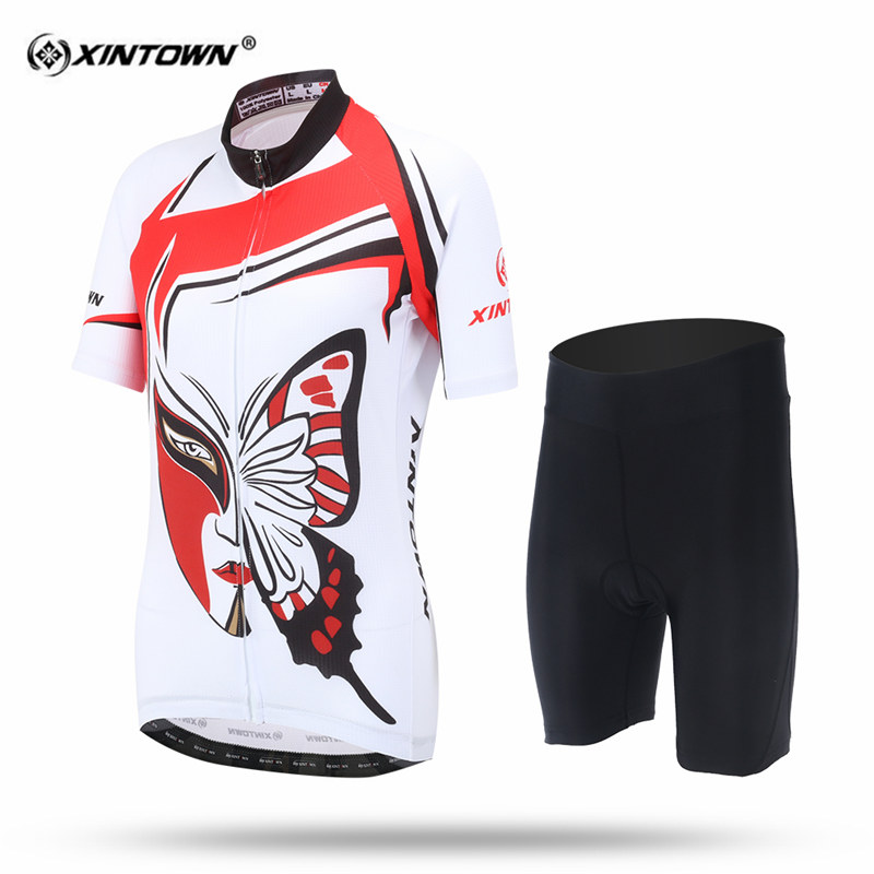 XINTOWN Women Sweat Short Sleeve Cycling Jersey Set MTB Bike Clothing Bicycle Jerseys Butterfly Female Pro Road Clothes