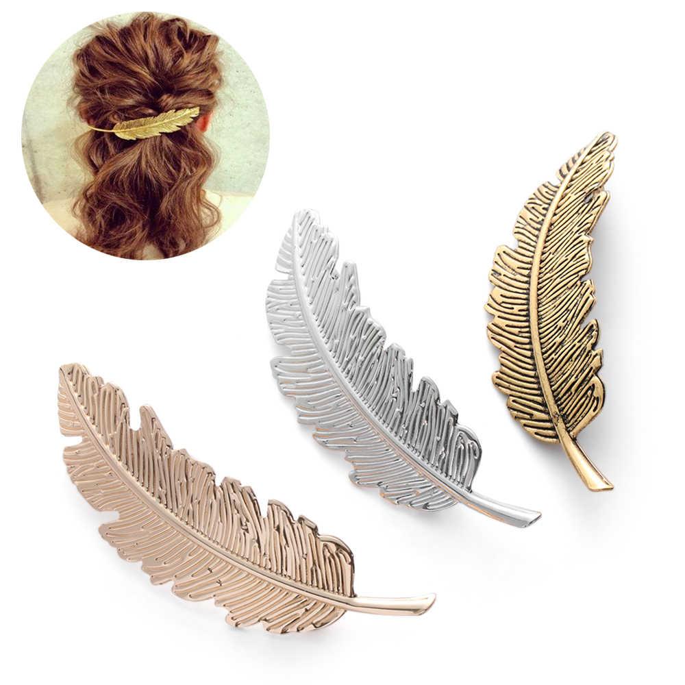2019 moda 1 Pza mujer hoja pluma Clip de pelo Metal geometría horquilla Barrette adorno para el cabello fiesta accesorios para el cabello Decoración