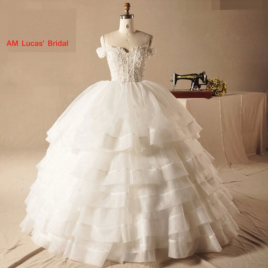 2019 New Ball Gown Wedding Dresses Tiered Ruffles Robe De Mariage Bridal Party Dresses Couture