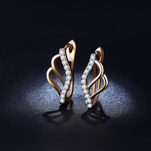 Classic Gold 585 Plated Hoop Earrings For Women Zircon Jewelry Boucle d'Oreille Wedding Vintage Brinco Aretes Aros QE023