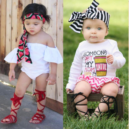 Newborn Infant Baby Girl Sandal Pu Leather Bandage Sandals Pram Flat Shoes