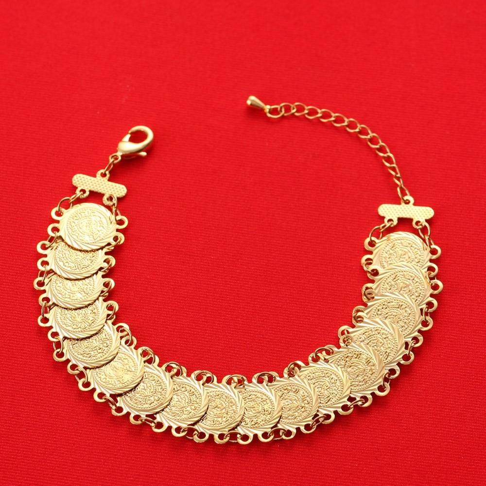 18cm+5cm Islam Coins Bracelet For Money Coin Bracelet Gold Color Unisex Arab Middle Eastern Jewelry Bracelet