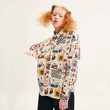 Весенняя новинка, женская модная блузка, хлопок, Забавный принт, Harajuku, дизайн, длинный рукав, женская Свободная рубашка, топы, BF