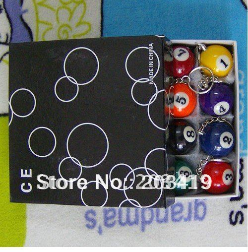 Pool Billiards snooker table ball keychain the same material as the real BILLIARDS big number black 8 wholesale