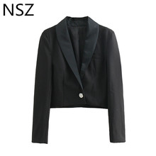 Women Black Crop Blazer Peal Button Long Sleeve With Pocket Notched Short Jacket