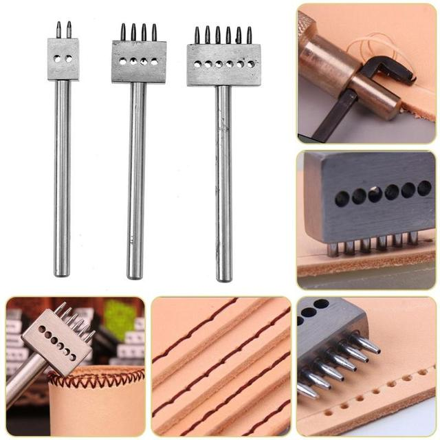 3pcs/set Leather Punch Tool 4mm 2/4/6 Prong Leather Craft Tools DIY Row Circular Cut Hole Stitched Hole Spacing Hand Tool