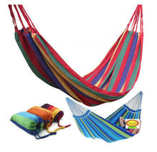 High Quality Portable Outdoor Garden Hammock Hang Travel Camping Swing Canvas Stripe hammock For 1 Person(China)